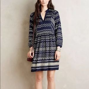 Anthropologie Holding Horses Chevron Dress Small